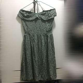 Cotton On green tube dress with polka dots 綠波點連身裙