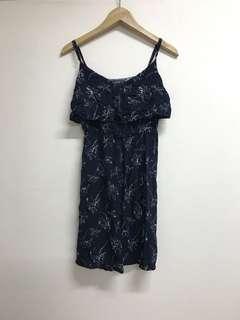 Navy Blue Floral Print Spaghetti Strap Dress