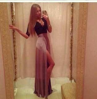 🚚 全新 深V性感蕾絲收腰側開叉拖地禮服洋裝 size:XXL