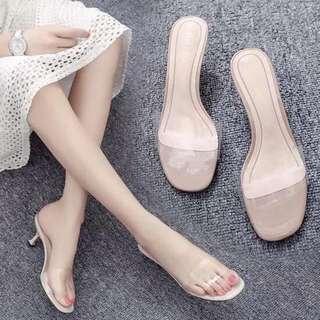 Beige Vinyl Transparent Slip On Kitten Heels Sandals size US 8 EU 39