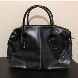 Cannci Black Leather Shoulder Bag