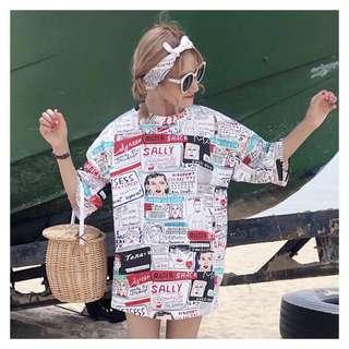 ulzzang | oversize graffiti tshirt dress