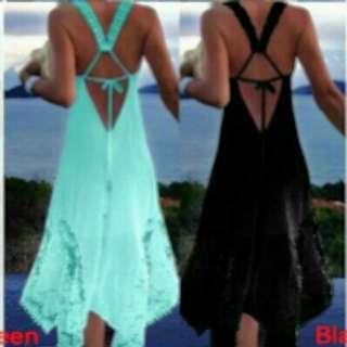 全新 蕾絲不規則拼接露背性感吊帶洋裝 size:L (Green/Black)