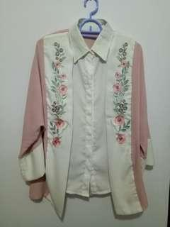 Formal Top (with embroidered flower detail) / Kemeja + Outer Motif Floral Pink Pastel