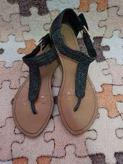 Montego Bay Black Braid Flat Sandals
