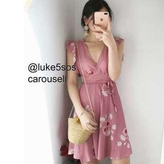 INSTOCKS Sakura floral wrap ruffle sleeves dress - pink