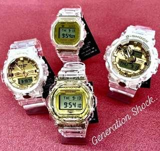 1-FULL SET contain FOUR WATCHES in GSHOCK DIVER SPORTS WATCH : 1-YEAR OFFICIAL GFACTORY WARRANTY 35th ANNIVERSARY CRYSTAL CLEAR WATER Best For Most ROUGH Users & Unisex : GA-835E-7A / GA-735E-7A / DW-5735E-7 / DW-5735E / GMW-B5000TFG