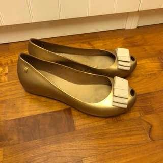 Melissa Shoes in Gold and Beige ribbon front