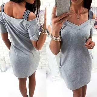 🚚 全新 吊帶露肩性感V領洋裝 size:XL