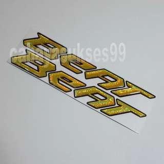 Sticker Timbul BEAT Kuning Gold 17cm X 2.5cm Stiker Body Motor HONDA BEAT Paket HEMAT 1 Set 2 Pcs New Ready Stock Produk Terlaris
