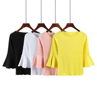 Basic Mid Sleeve Flare Top