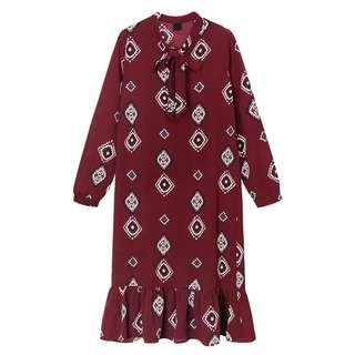 Paisley Print Long Sleeve Dress