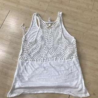 Aeropostale Lace White Beach Tank Top
