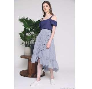 Blue Stripes Ruffled Skirt YISHION