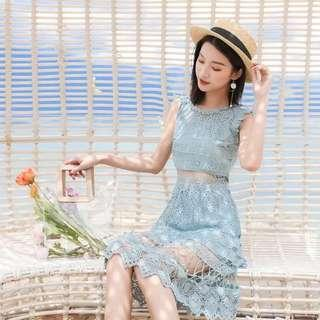 Blue Hollow Out Lacey Dress