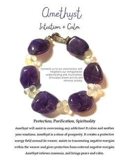 Amethyst chunks with clear quartz spacer bracelet