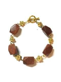 Goldstone chunks bracelet