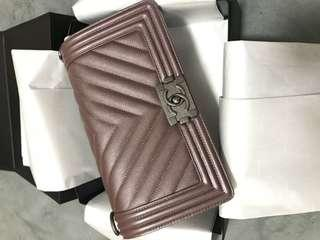 Chanel boy metallic color with warranty