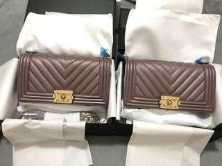 Chanel boy metallic with warranty