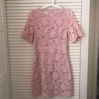 韓國製粉色lace連衣裙斯文裙