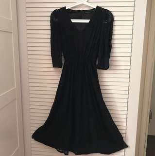 韓國製黑色lace 斯文裙長裙