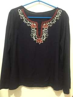 Dark Navy Blue Longsleeve Top w/ Embroidery