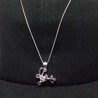 Genuine 925 Sterling Italy Silver Love w/ Gem Stone Necklace