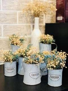 Dried flowers in 8 rustic baby blue containers