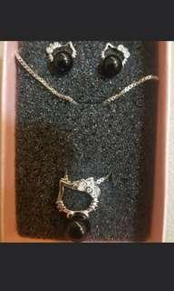 925 silver kitty earring necklace