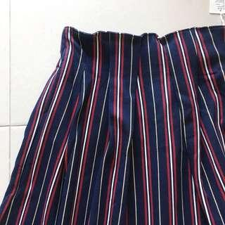 Instock! - BNWT Vintage Colourblock Navy Blue x White x Red Stripe Contrast Cotton Skirt