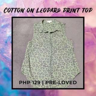 Cotton On Green Leopard Print Sleeveless Top