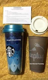 GET 2 STARBUCKS TUMBLERS FOR THE PRICE OF ONE! SIREN THEMED UMBLER AND STATEMENT CUP
