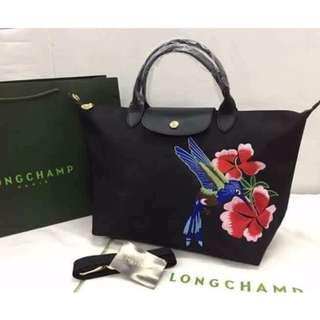 Authentic Quality Longchamp Embroidered Robin Black