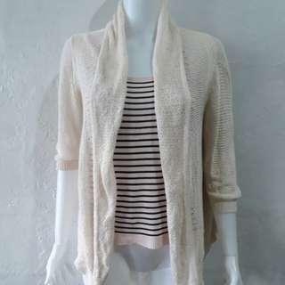 Bundle Knit cardigan and stripes top