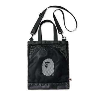 ⚡SALE⚡ [PO] BAPE The Bathing Ape Netted Style Two Way CarryShoulder Tote /  Sling Messenger Bag (Black) + Free Post