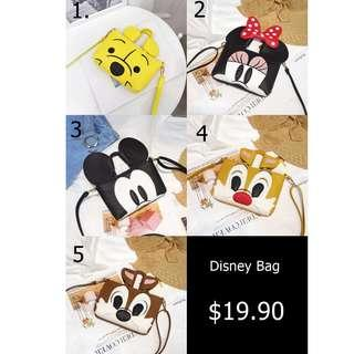 [NEW] [PO] PROMOTION FOR MONTH OF  OCT !!!! Pretty Cool Small Disney SLING bags with up to 5 design to choose
