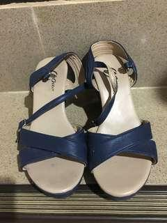Navy blue wedge shoes