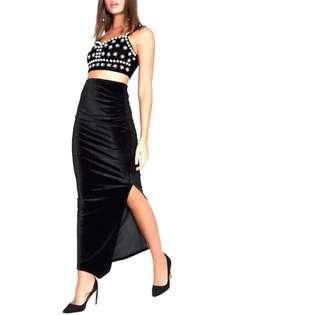 Black Long Velvet Skirt w/ Double Slit