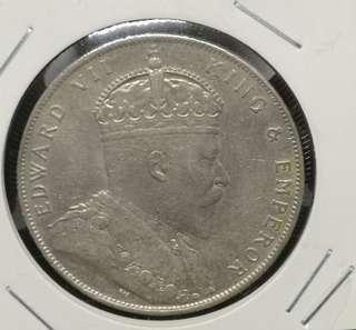 Straits Settlements 1908 $1 dollar