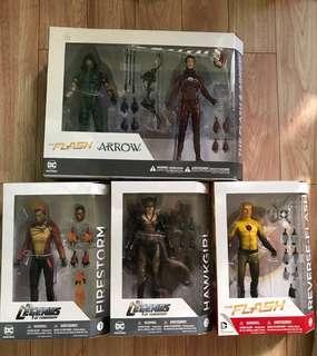 DC Collectibles DCTV Green Arrow, The Flash, Reverse Flash, Firestorm and Hawkgirl from legends of tomorrow