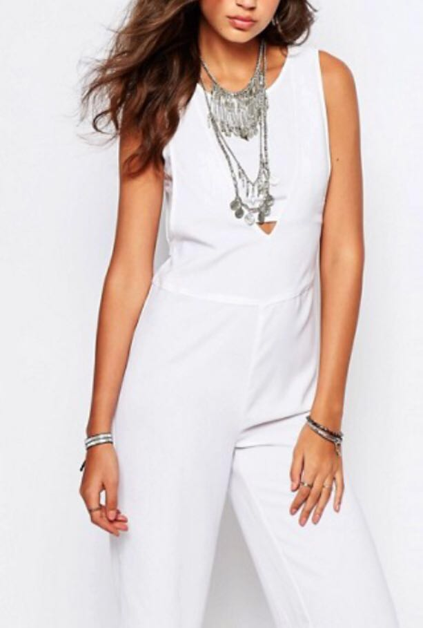 4dadf42e107d ASOS Noisy May White Midi Jumpsuit with Bandeau underlay