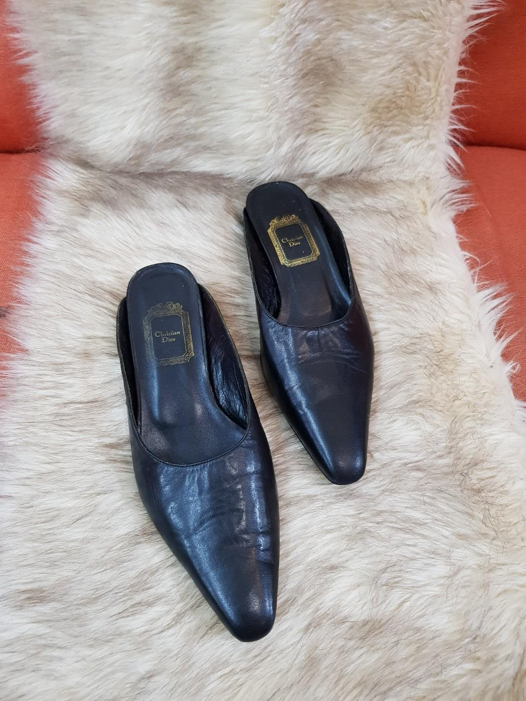 93eb02b68 Authentic Christian Dior Black Leather Mules Flats Size 39 on Carousell