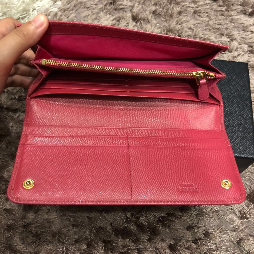 272dde3cc0a467 Authentic Pink Prada Long Saffiano Bow Wallet *PRICE IS FIRM ...