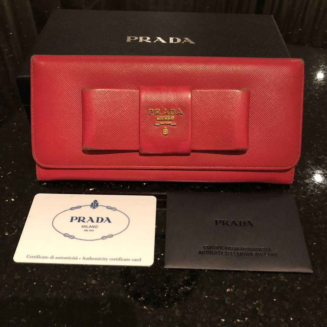 686d1788a980 Authentic Prada Saffiano Long Continental Bow Wallet *PRICED TO ...