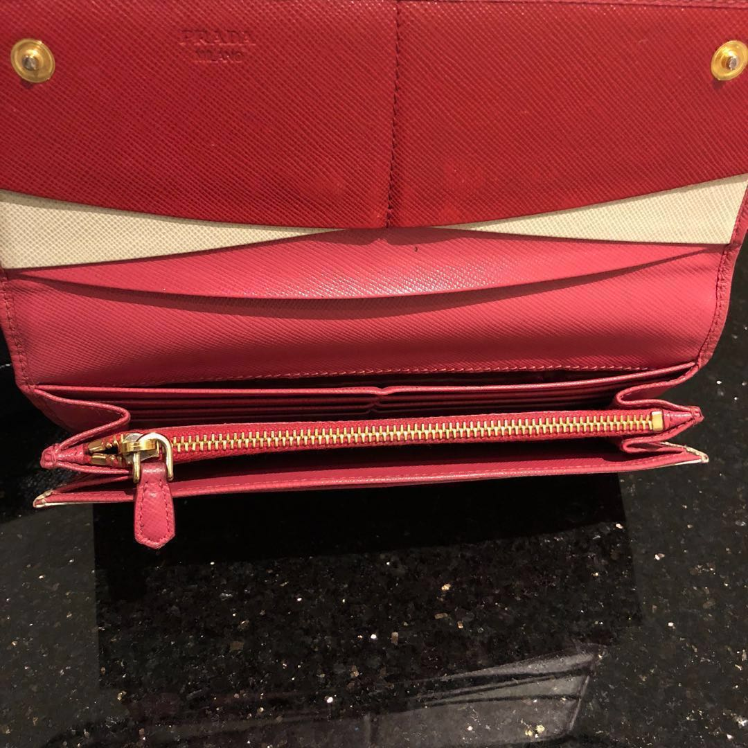 201c0f1cf7a4 Authentic Prada Saffiano Multicolor Wallet (Peonia/Pink). Price is Firm., Women's  Fashion, Bags & Wallets, Wallets on Carousell