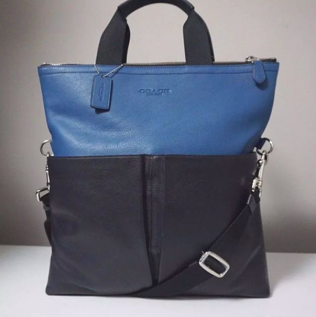 c29222e77969 Coach Foldable Smooth Leather Crossbody Tote bag Demin Blue Black ...