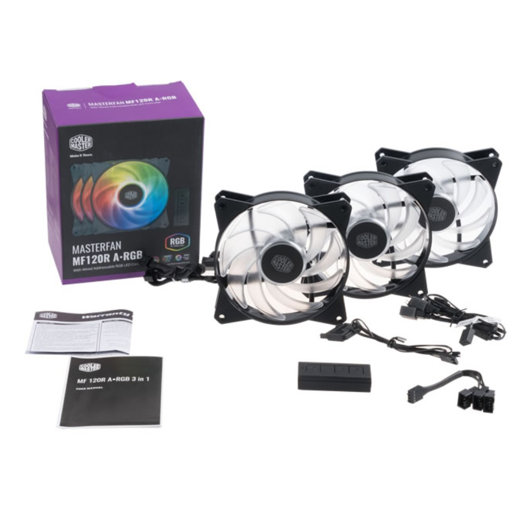 Cooler Master MasterFan MF120R ARGB 3 in 1 Combo MF120 RGB Coolermaster 3  Pack