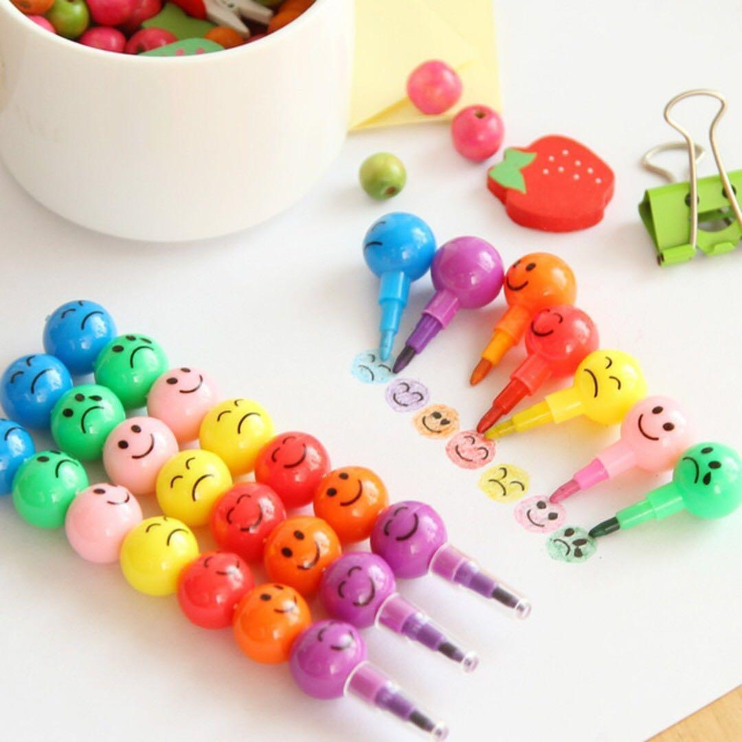 Emoji Stackable Crayon Pencil Goodie Party Bag Box Add On Hobbies Toys Toys Games On Carousell