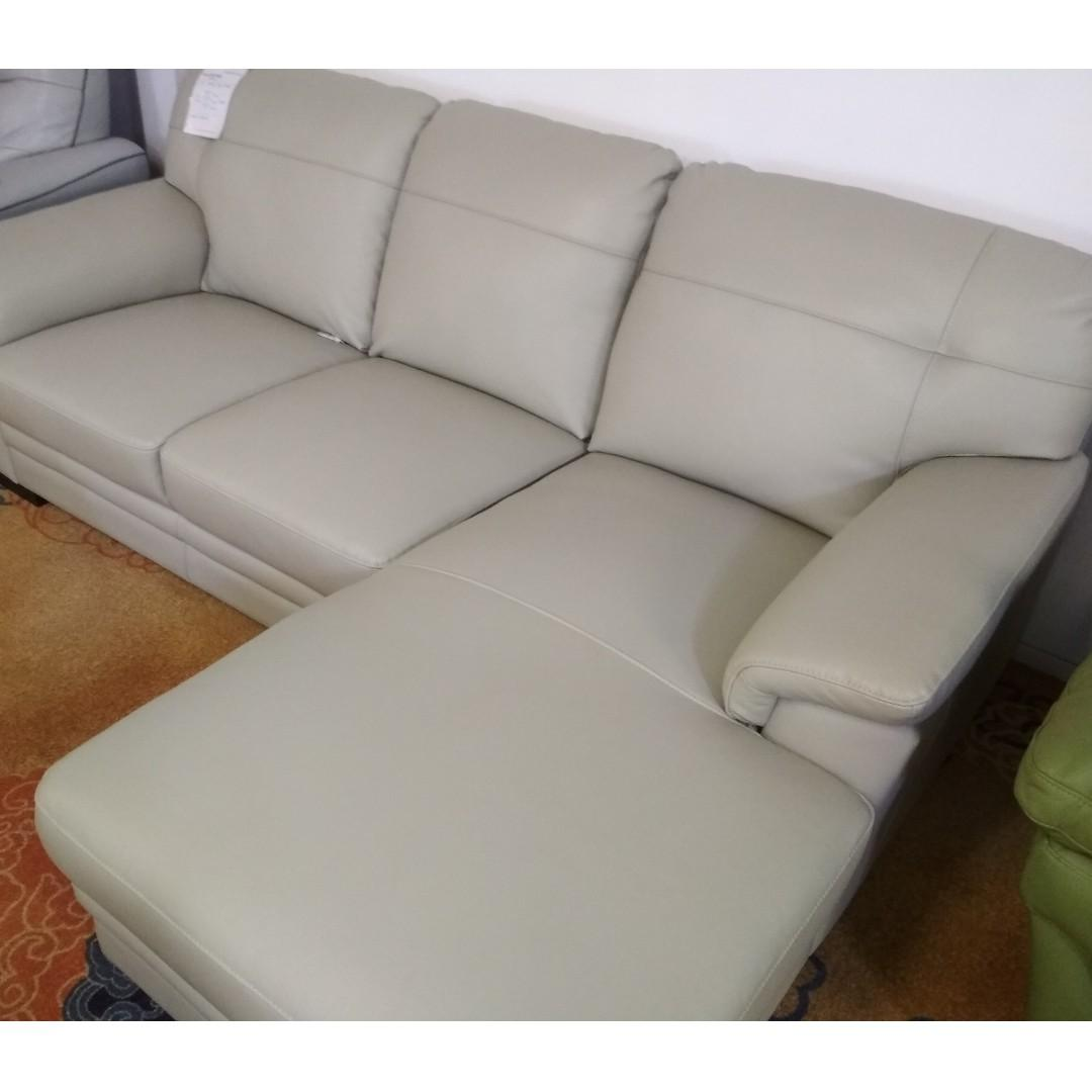 Gemini Half Leather 2 Seater w/Chaise Sofa Couch SFLP830 ...