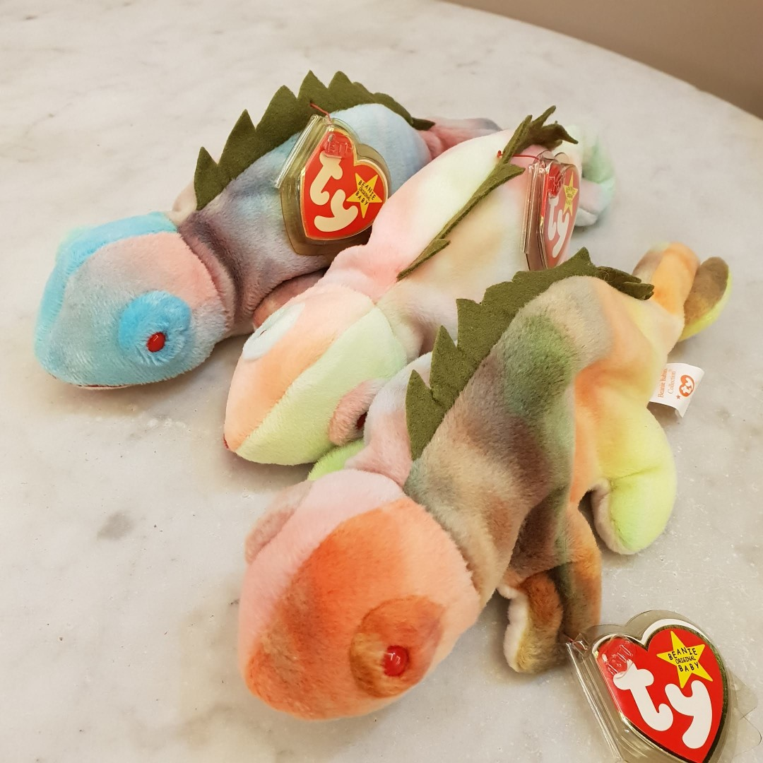 1501558a561 2 left. GENUINE TY BEANIE BABY - Iggy The Iguana (Tie-dyed). Brand ...